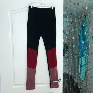 Frankie B. Velvet Color Block Leggings Size M